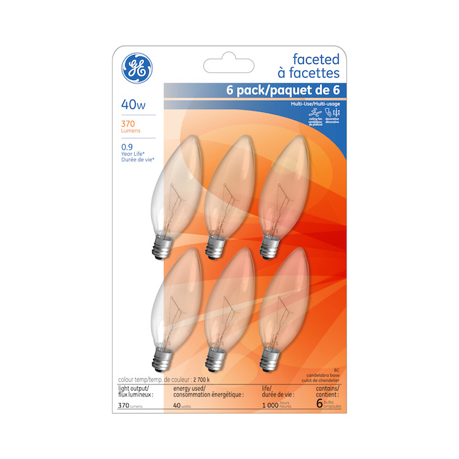 Incandescent Bulb - B10 - 40 W - Glass - Soft White - 6-Pack