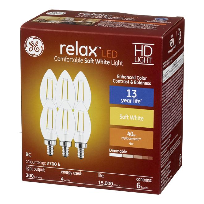 GE LED Bulb - BC - 4 W - Soft White - 6/Pack