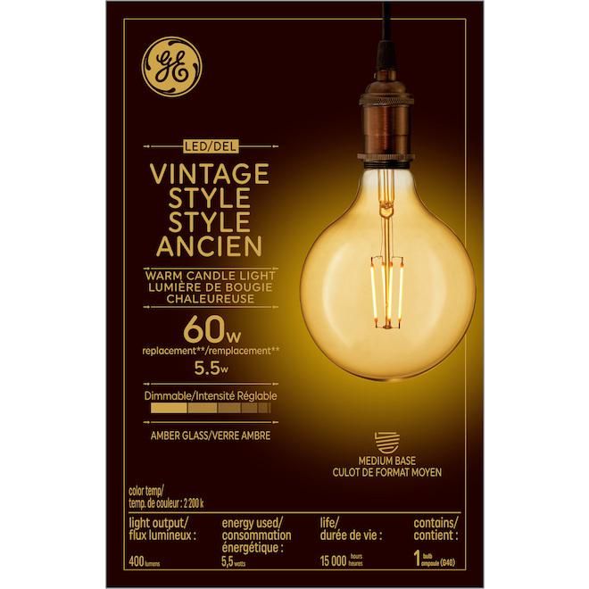 GE LED Vintage Bulb - G40 - 5.5W - Amber Glow - 2/Pack