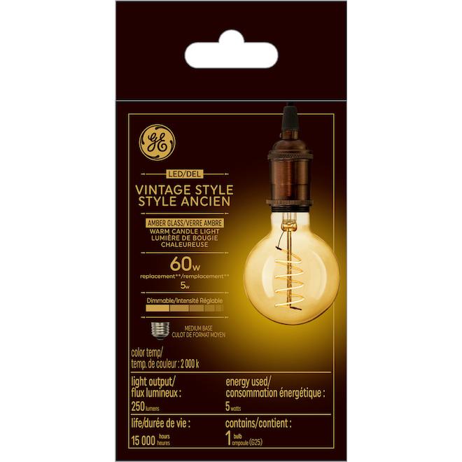 Ampoule vintage DEL, G24 spiral, 5 W, lueur chandelle