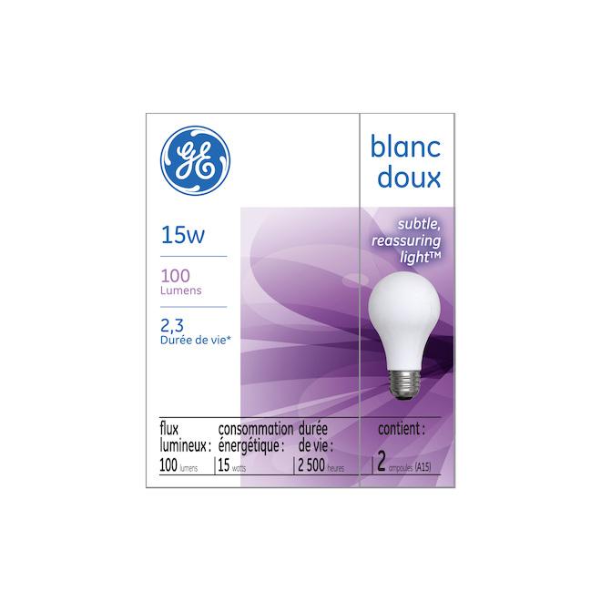Ampoule incandescente GE, blanc doux, 15 W, A15, pqt/2