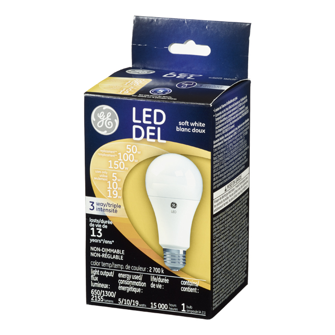 9GE LED Bulb - Soft White - A 21 - 3-Way - 5-10-19 W