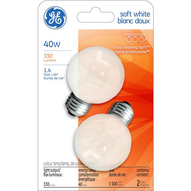 Ampoule incandescente, blanc doux, G16.5 40 W, pqt/2
