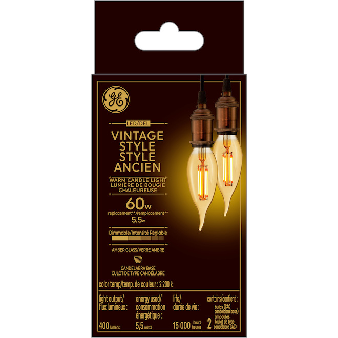 Vintage Style LED Bulb - CAC - 5.5 W - Glass - 2-Pack