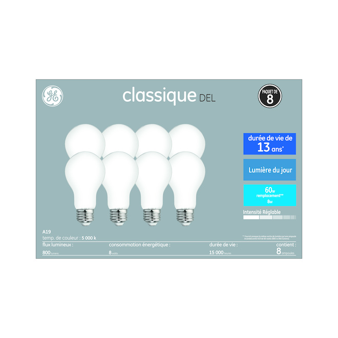 GE LED Glass Bulb - Daylight Bright - A19 - 8 W - 8/Pack