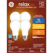 GE Relax HD Soft White 40W Replacement LED General Purpose A19 Bulb (4-Pack)