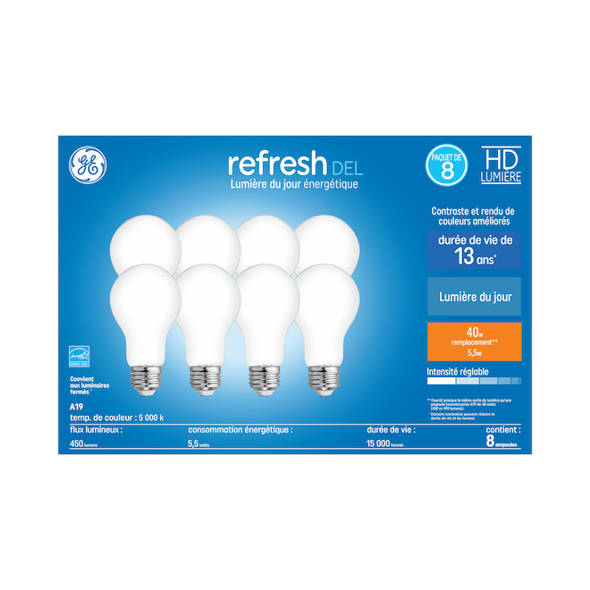 LED Bulb - A19 - 6 W - Glass - Day Light - 8-Pack