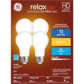GE Relax HD Soft White 60W Replacement LED General Purpose A19 Light Bulbs (4-Pack)