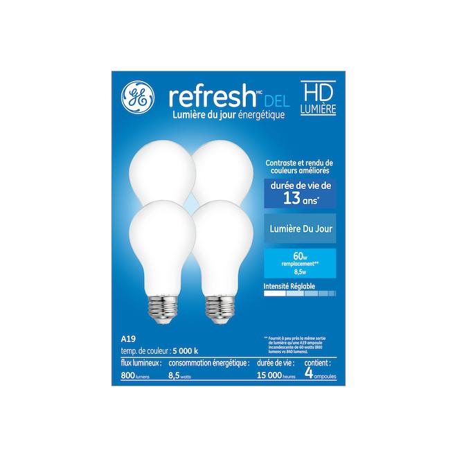 Ampoules Refresh HD par GE A19 à DEL lumière du jour de 60 W à usage général, paquet de 4