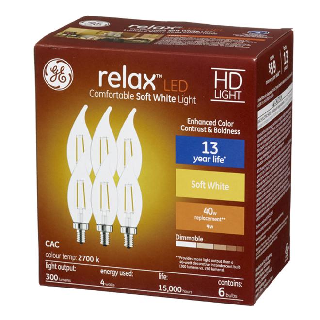 LED Bulb - CAM HD - 4 W - Glass - Soft White - 6-Pack
