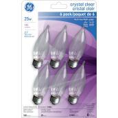 Ampoules incandescentes GE, CAC, 25 W, 6/pqt, blanc doux