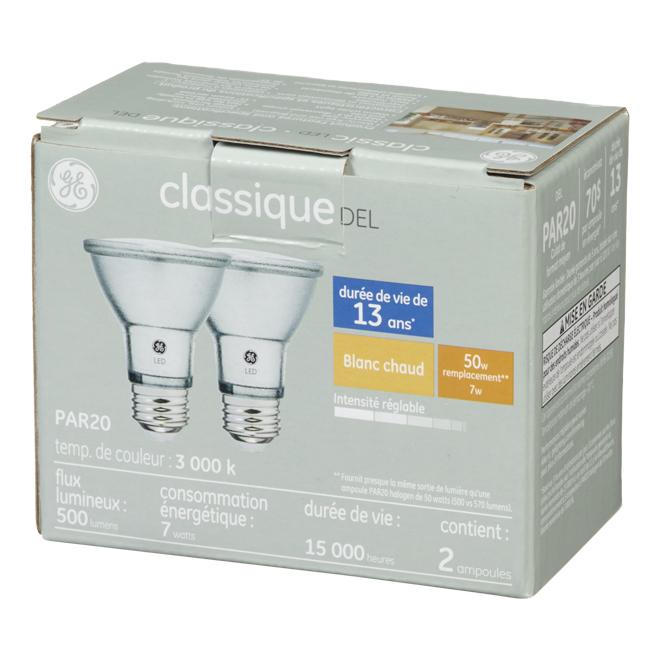 Ampoules DEL GE, PAR20, 7 W, 2/pqt, blanc chaud