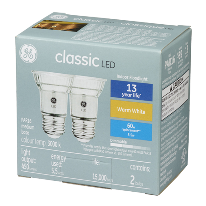 LED Floodlight Bulb - 6 W - Warm White - Pack of 2