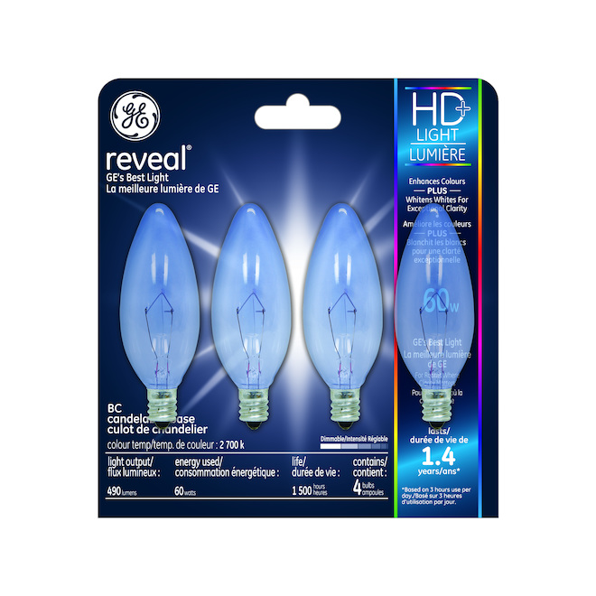 Reveal(R) Incandescent Bulbs - CAC - 60 W - 4/Pck - Clear