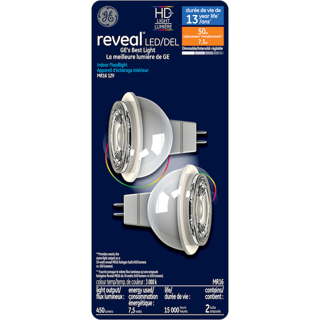 Ampoules DEL Reveal(MD), MR16, 7,5 W, 2/pqt