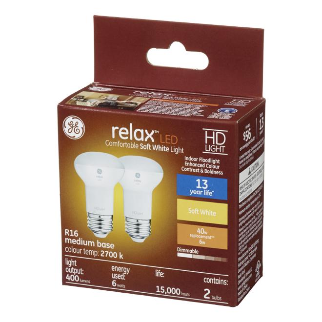 GE LED Bulbs - R16 - 6 W - 2/Pck - Soft White