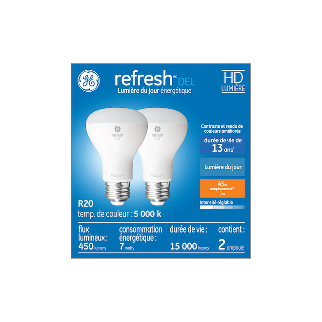 GE LED Bulbs - R20 - 7 W - 2/Pck - Day Light