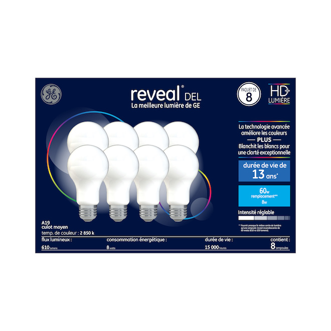 Ampoule DEL Reveal A19, clair, 8 W, paquet de 8