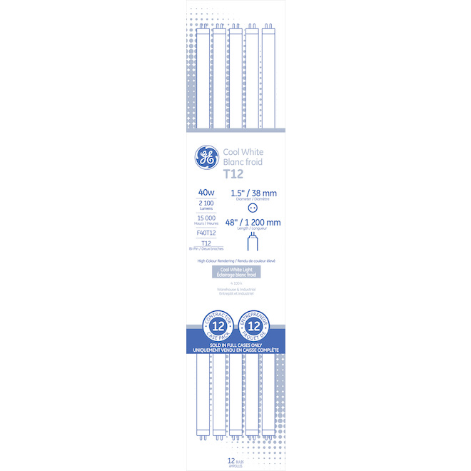 GE Fluorescent Tubes - F40 T12 - 40 W - 12/Pck- Cool White