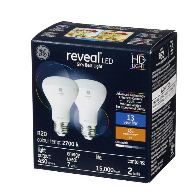 Reveal(R) LED Bulbs - R20 - 7 W - 2/Pck - Clear