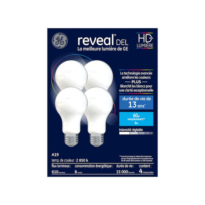 Ampoules DEL Reveal(MD), A19, 8 W, 4/pqt, clair
