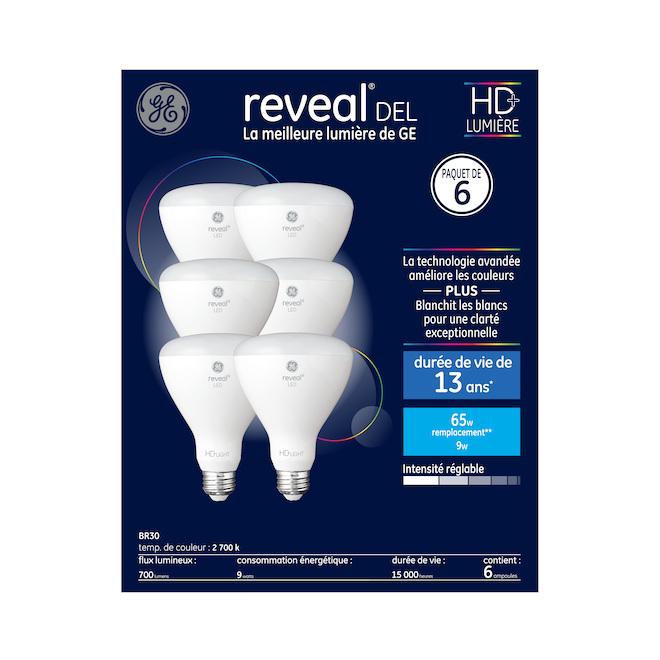 GE Reveal LED Bulbs - BR30 - 9 W - 6 Pack - Clear