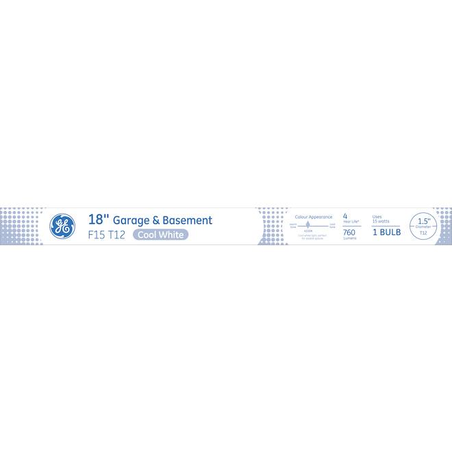 GE Fluorescent Tube - 15 W - 18'' - 1/Pck - Cool White
