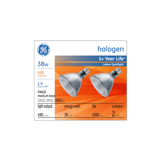 GE halogen bulbs - PAR20 - 38 W - 2/Pck - Soft White