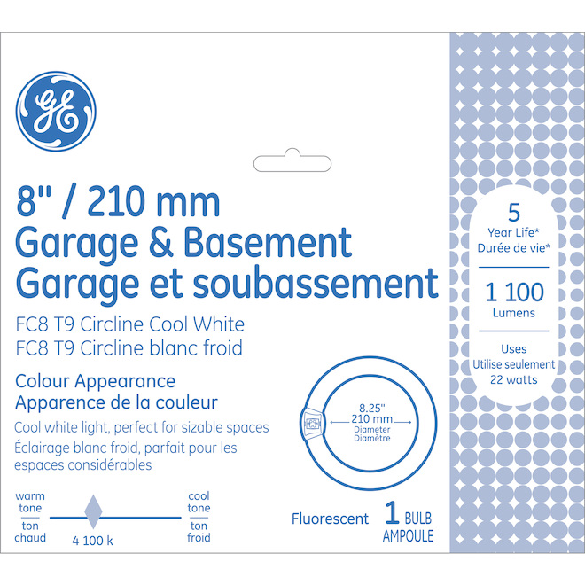 Tube fluorescent circulaire GE, T9, 22 W, 8'', blanc froid