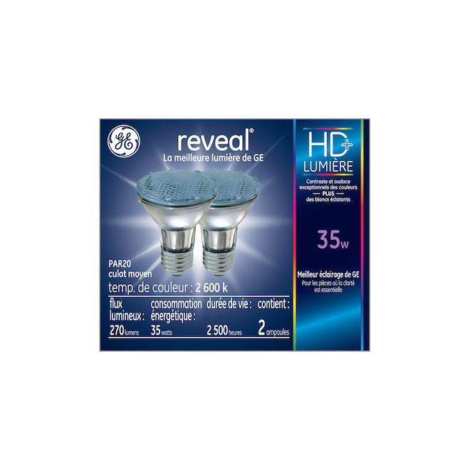 Reveal Projector Halogen Clear Bulb - PAR20 - 60 W - 2/Pack