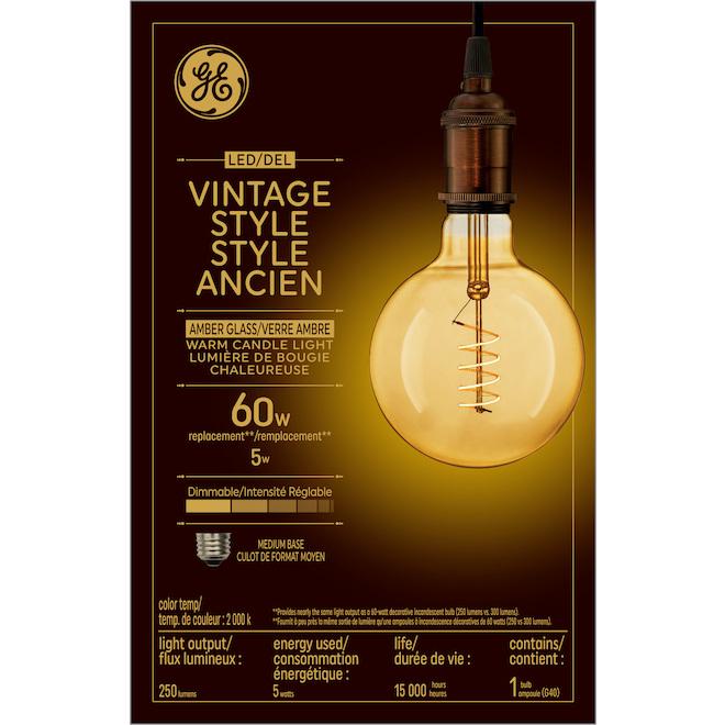 Ampoule DEL, G40 spirale, 5 W, lueur de chandelle