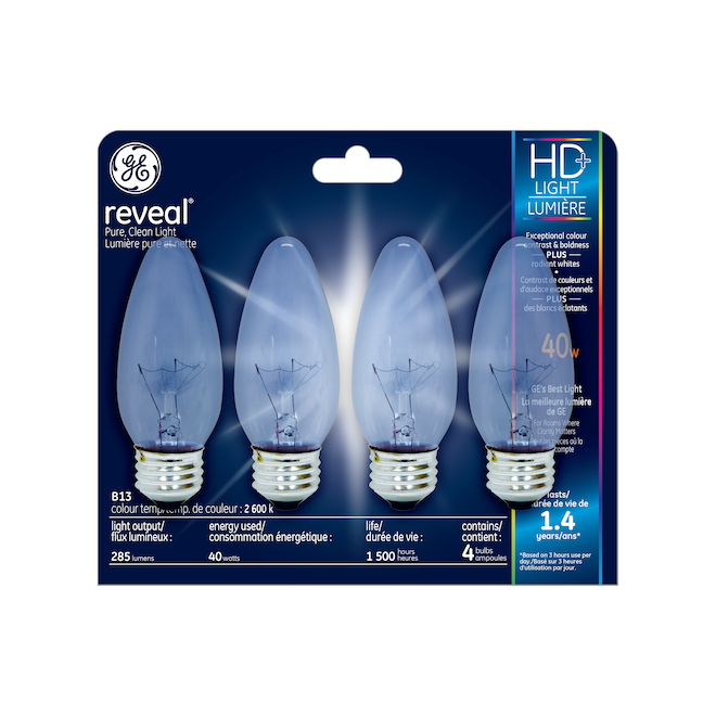 Reveal Incandescent BM, 40 W - Clear - 4/Pack