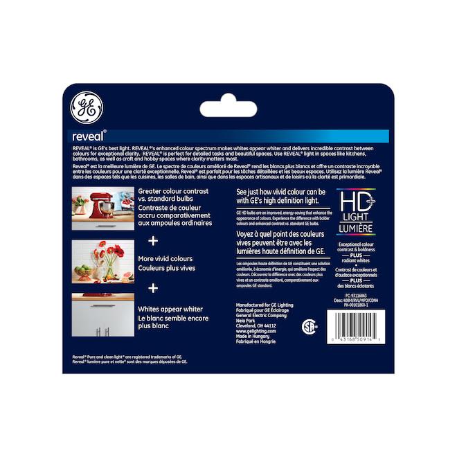 Ampoule incandescente Reveal, BM, 40 W, clair, paquet de 4