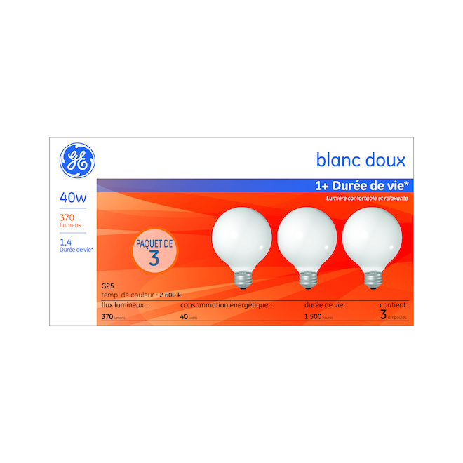 Incandescent Bulb Frosted - G25 - 40 W - Soft White - 3/Pack