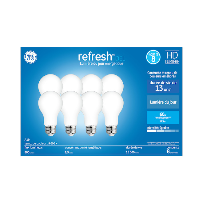 GE LED Bulb - A19 - 8.5 W = 60 W - Daylight - 8/Pack