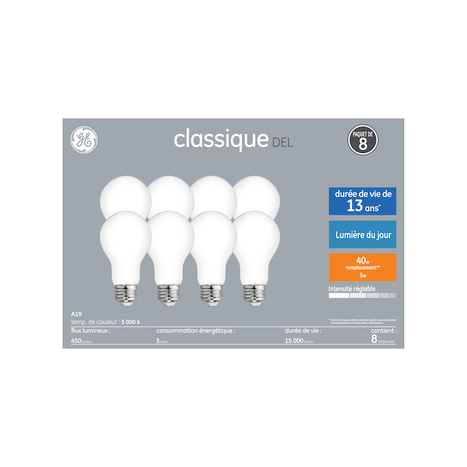 GE LED Bulb - A19 - 5 W - Daylight - 8/Pack