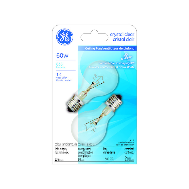 GE Incandescent Bulb - Soft White - 60 W - Pack of 2