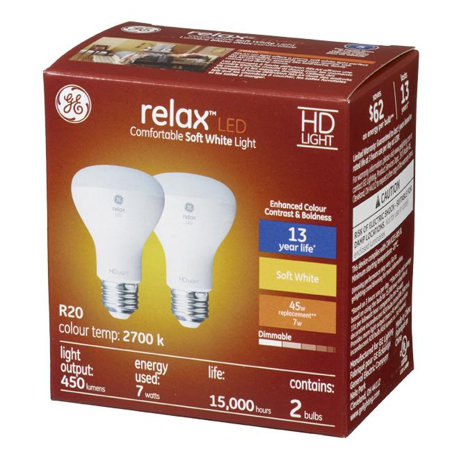 GE LED Bulb - R20 - 7 W - Soft White - 2/Pack