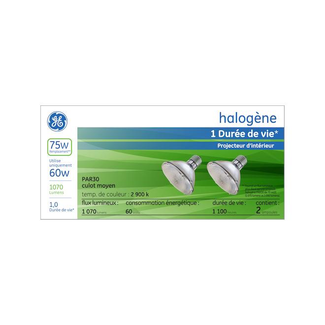 Ampoule halogène GE PAR30S, 60 W, blanc doux, 2/pqt