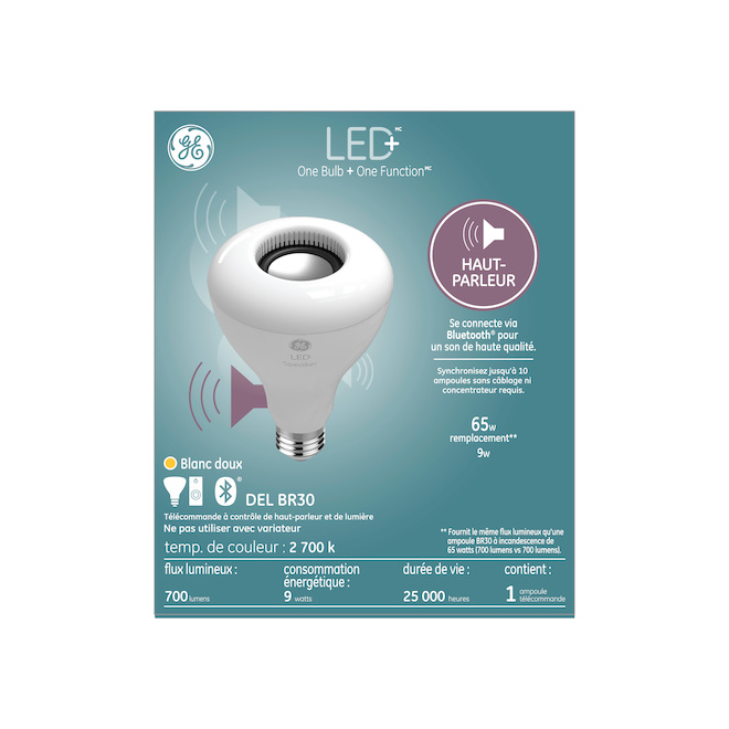 Ampoule DEL GE, BR30 avec hauts-parleurs, 9 W, blanc doux
