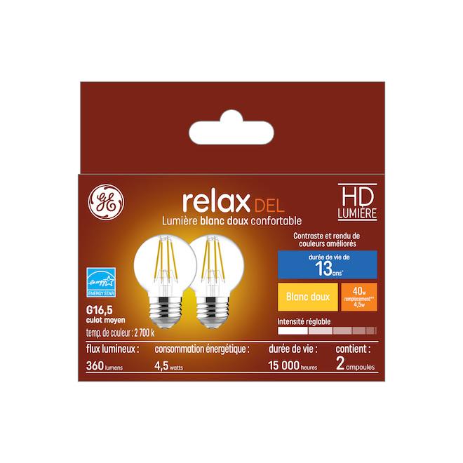 Ampoule DEL GE, G16.5, 4,5 W, blanc doux, 2/pqt