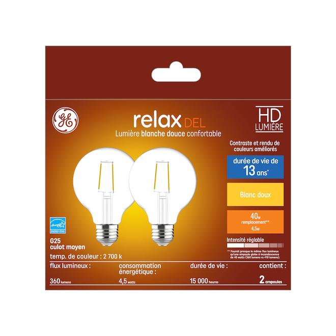 Ampoule DEL GE, G25, 4,5 W, blanc doux, 2/pqt