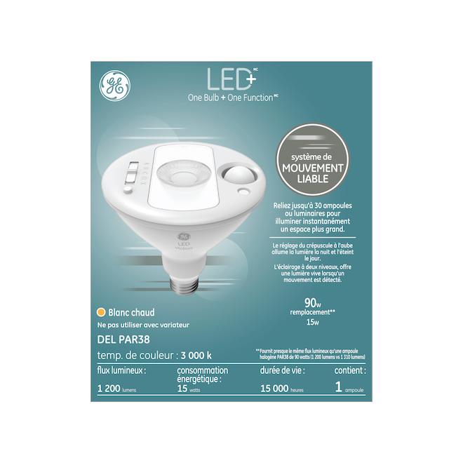 Ampoule DEL GE, PAR38 avec détecteur de mouvements, 15 W, blanc