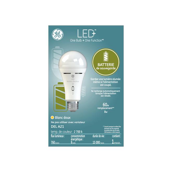 Ampoule DEL GE, A21 avec batterie de secours, 8 W, blanc doux