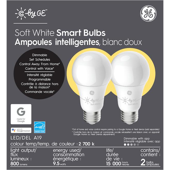 GE LED Bulb - Smart A19 - 9.5 W - Soft White - 2/Pack