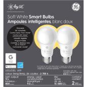 Ampoule DEL GE, A19 intelligente, 9,5 W, blanc doux, 2/pqt