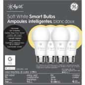 Ampoule DEL GE, A19 intelligente, 9,5 W, blanc doux, 4/pqt