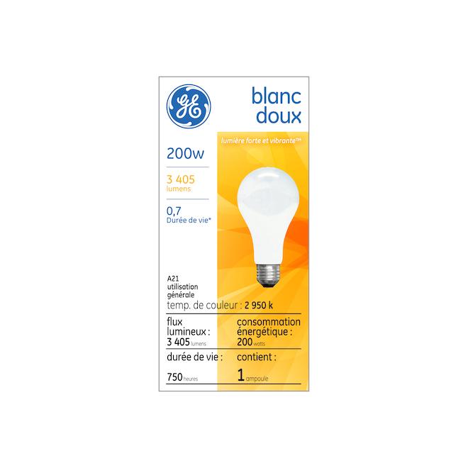 Ampoule incandescente GE, A19 FR, 200 W, blanc doux