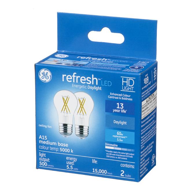 GE LED Bulb - A15 - 5.5 W - Day Light - 2/Pack