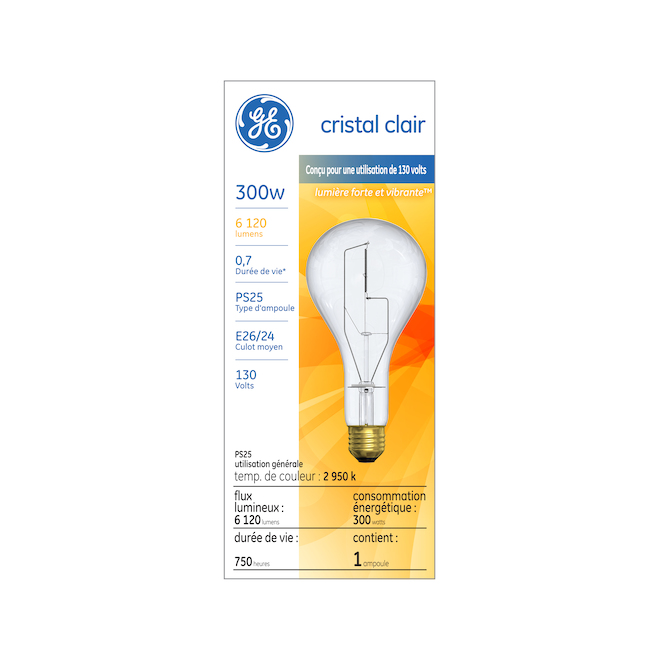 GE Incandescent Bulb - PS25 - 300 W - Soft White